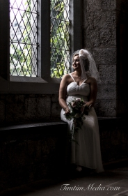 Bride portrait in UCC Cork City on her wedding day